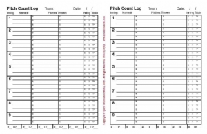 pitch count forms 50