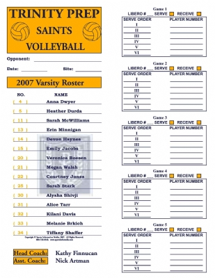 Volleyball Roster Cards Full Page