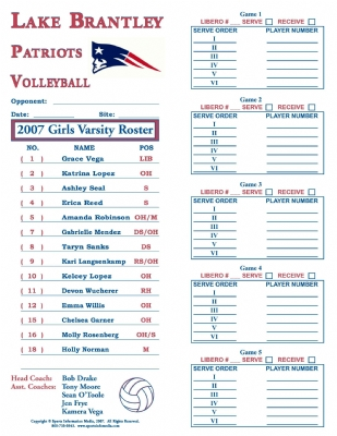 volleyball roster and line up sheets printable
