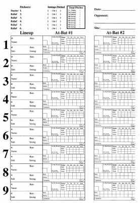 Pitching Chart System Refills 20 Pack Charts
