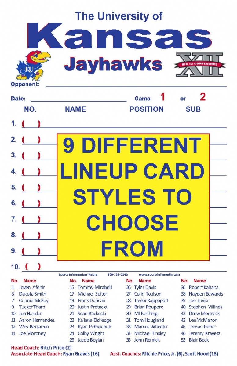 It is a photo of Modest Printable Lineup Card
