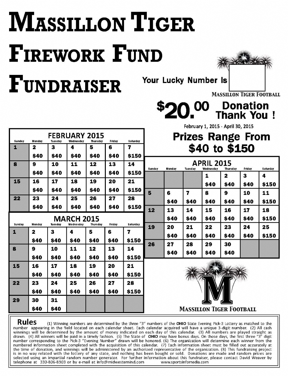 Monthly Calendar Raffle : Calendar fundraising kit